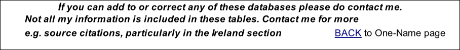 If you can add to or correct any of these databases please do contact me. Not all my information is included in these tables. Contact me for more e.g. source citations, particularly in the Ireland section			            BACK to One-Name page